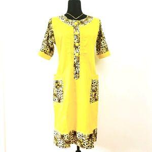 African Leopard Dress Yellow Midi